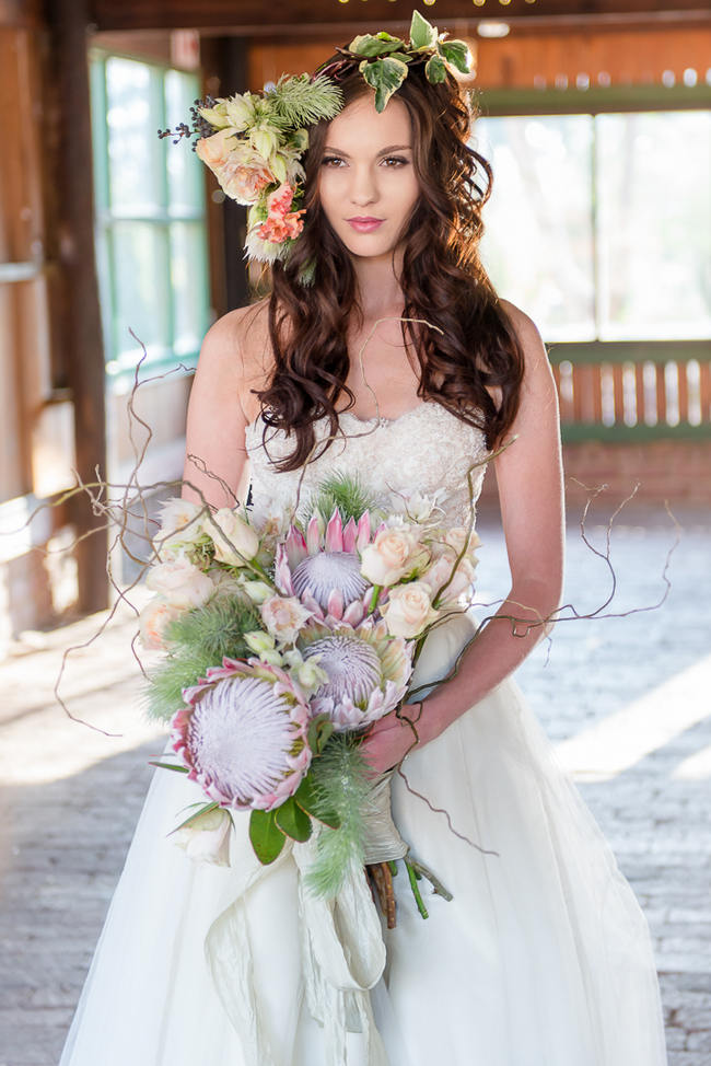 Peach Rose and Blush Protea Rustic Bouquet // Rustic Fall Wedding Ideas // Lightburst Photography // Flowers: Dear Love Events