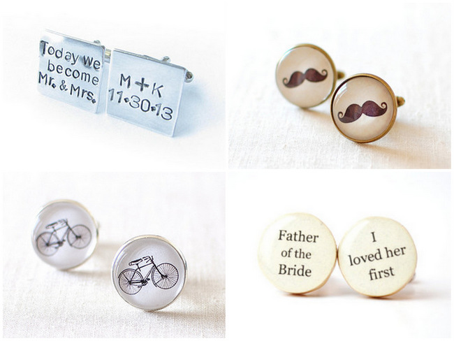 14 Fun & Sweet Wedding Cuff Link Ideas for Groom, Dad & Groomsmen