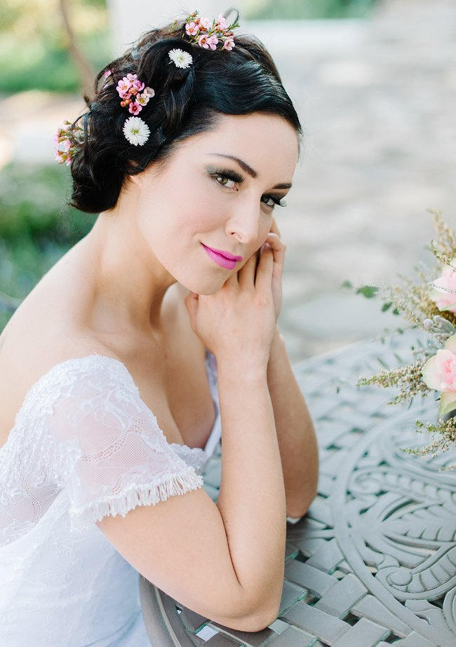 Wedding Hairstyle Ideas for Long Hair // Debbie Lourens Photography // Fringe Hair and Make-up