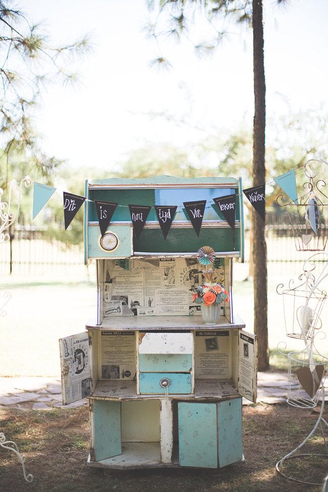 DIY Teal Turquoise Peach Vintage South African Wedding (52)