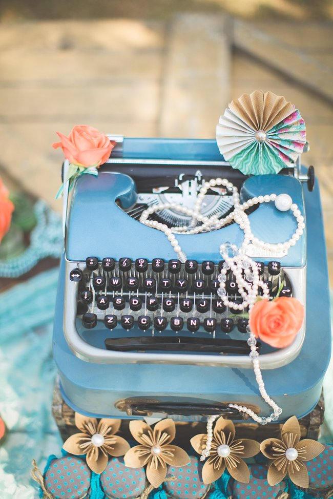 Vintage Typewriter // Wedding Decor Ideas // Delightfully Handmade DIY Teal Turquoise Peach Vintage South African Wedding // Genevieve Fundaro Photography
