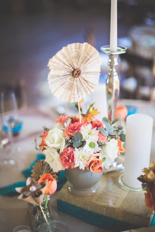Paper Rosette // Wedding Decor Ideas // Delightfully Handmade DIY Teal Turquoise Peach Vintage South African Wedding // Genevieve Fundaro Photography
