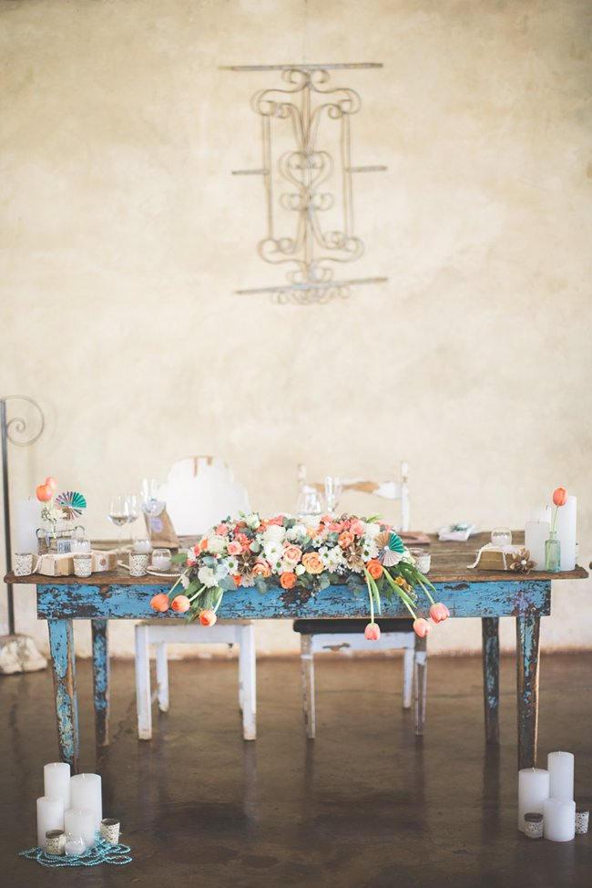 Sweetheart Table // Wedding Decor Ideas // Delightfully Handmade DIY Teal Turquoise Peach Vintage South African Wedding // Genevieve Fundaro Photography