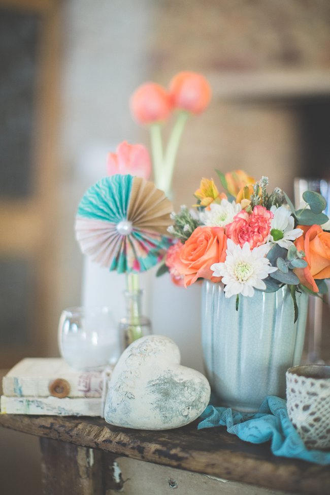 Paper Rosette and Tulips // Wedding Decor Ideas // Delightfully Handmade DIY Teal Turquoise Peach Vintage South African Wedding // Genevieve Fundaro Photography