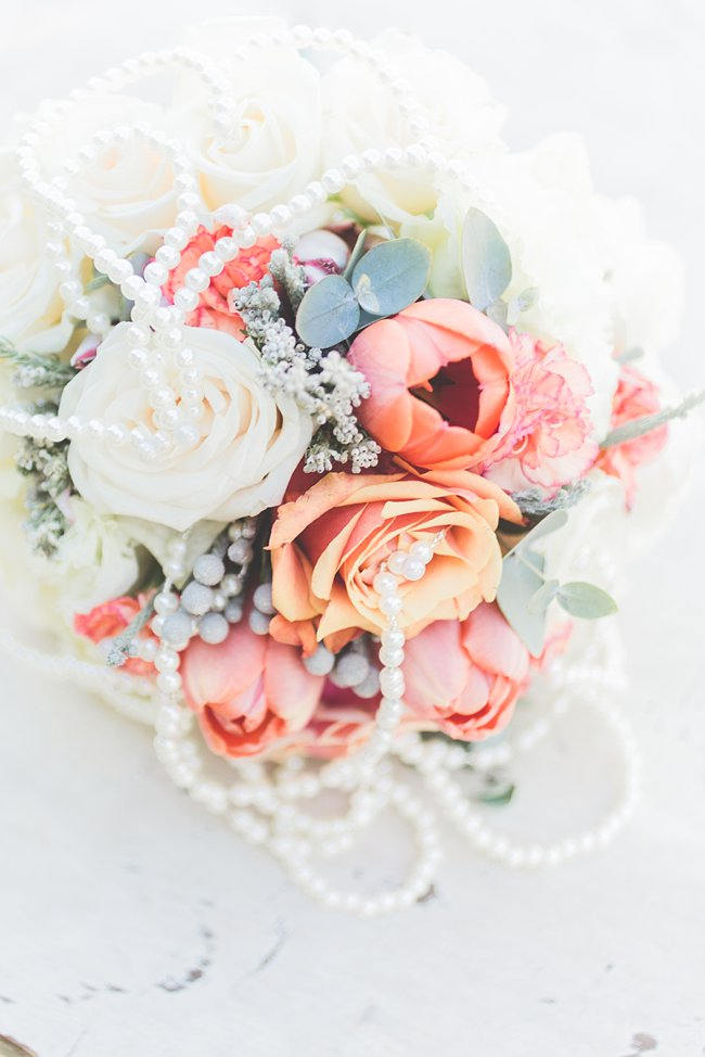 Bouquet //  Delightfully Handmade DIY Teal Turquoise Peach Vintage South African Wedding // Genevieve Fundaro Photography
