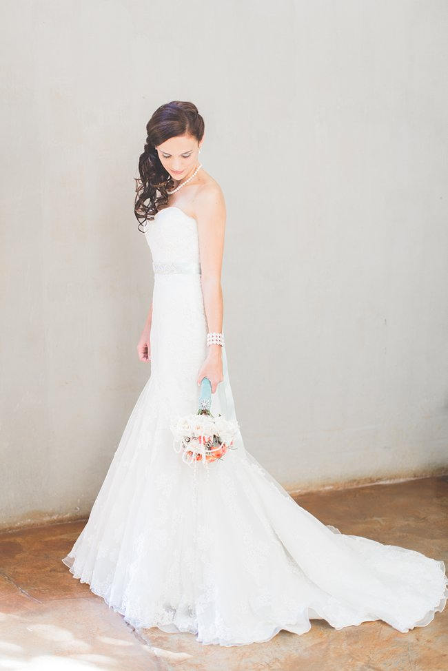 Bride   // Delightfully Handmade DIY Teal Turquoise Peach Vintage South African Wedding // Genevieve Fundaro Photography