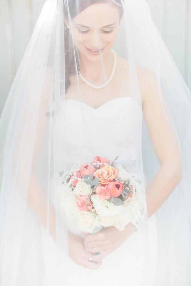 Brides Boquet   // Delightfully Handmade DIY Teal Turquoise Peach Vintage South African Wedding // Genevieve Fundaro Photography