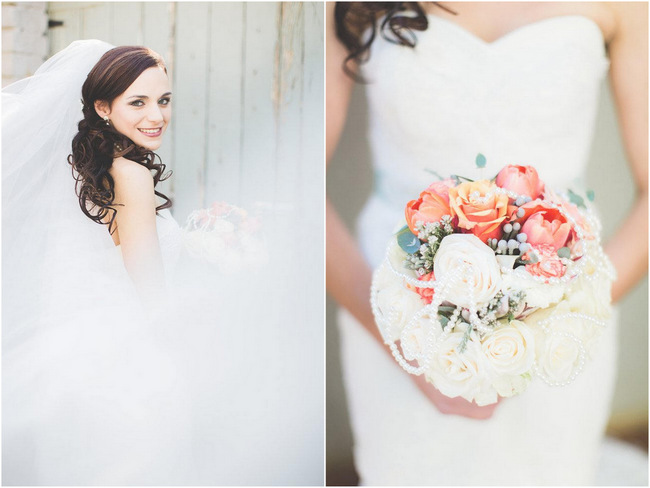 Brides Bouquet   // Delightfully Handmade DIY Teal Turquoise Peach Vintage South African Wedding // Genevieve Fundaro Photography