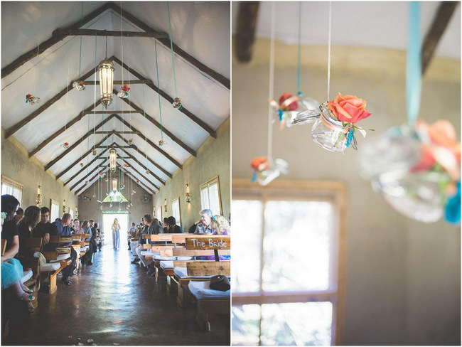 Hanging Decor at  Wedding Ceremony // Delightfully Handmade DIY Teal Turquoise Peach Vintage South African Wedding // Genevieve Fundaro Photography