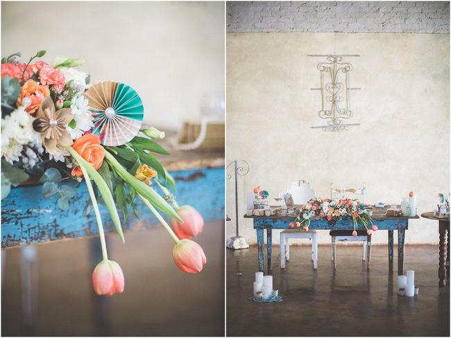 Tulips // Wedding Decor Ideas // Delightfully Handmade DIY Teal Turquoise Peach Vintage South African Wedding // Genevieve Fundaro Photography