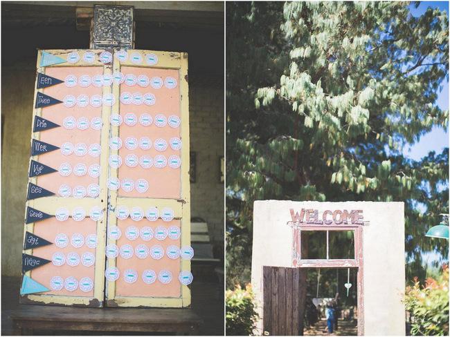 Seating Chart // Wedding Decor Ideas // Delightfully Handmade DIY Teal Turquoise Peach Vintage South African Wedding // Genevieve Fundaro Photography