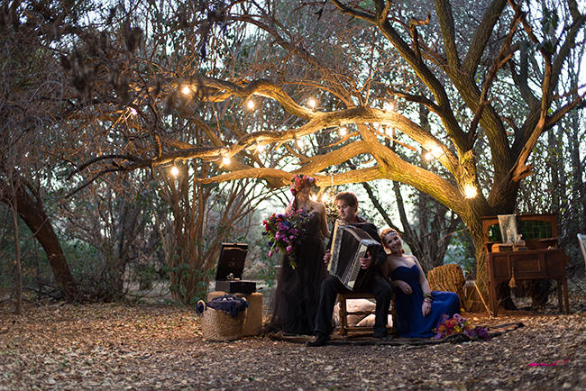 Outdoor Forest Reception // Purple Orange and Yellow Gypsy Wedding Ideas // Memory Box Photography