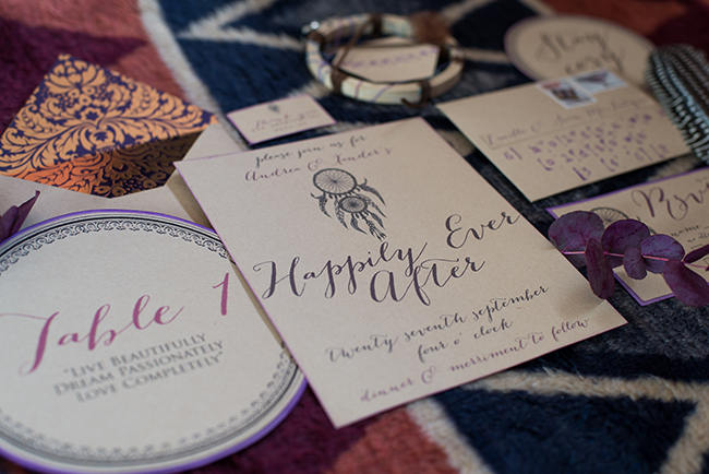 Gypsy Wedding Invitations Purple  // Purple Orange and Yellow Gypsy Wedding Ideas // Memory Box Photography