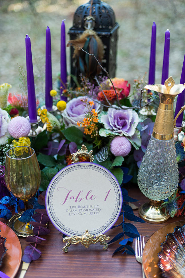 Forest Tablescape // Purple Orange and Yellow Gypsy Wedding Ideas // Memory Box Photography