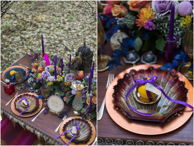 Rustic Boho Forest Table Setting // Purple Orange and Yellow Gypsy Wedding Ideas // Memory Box Photography