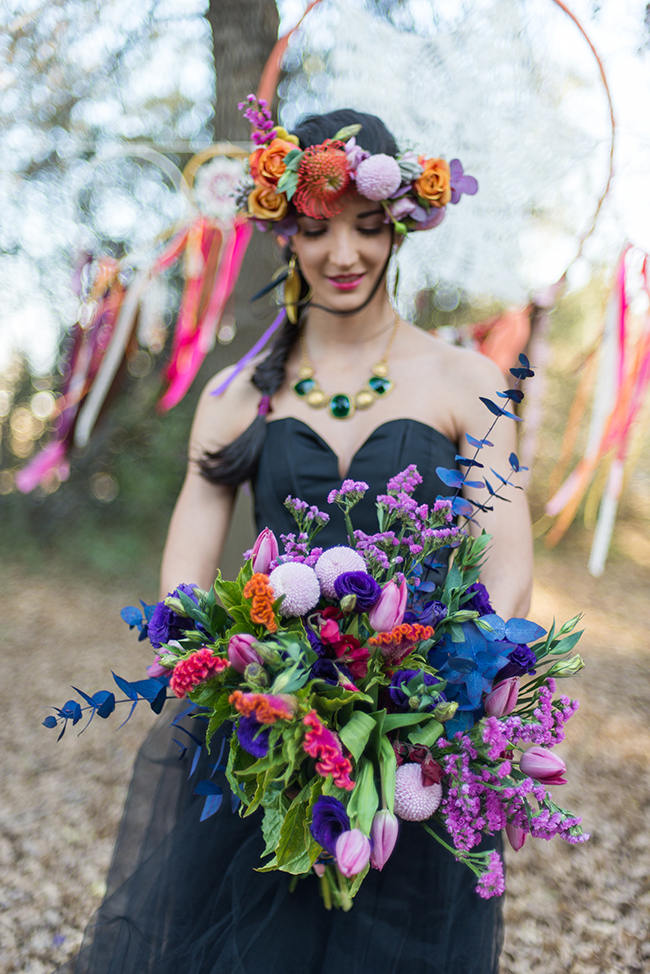 Flower Crown and Bouquet // Purple Orange and Yellow Gypsy Wedding Ideas // Memory Box Photography