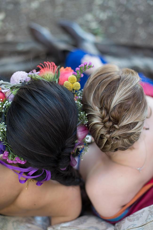 Bohemian Wedding Upstyle Hairstyle // Purple Orange and Yellow Gypsy Wedding Ideas // Memory Box Photography