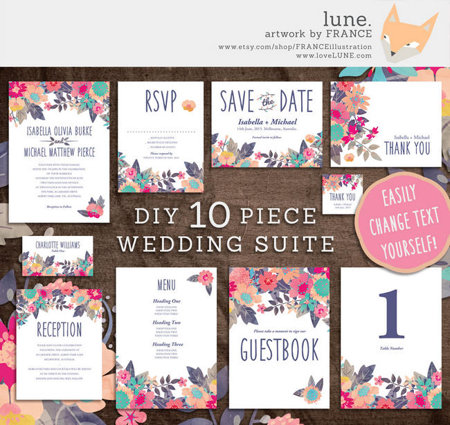 Gorgeous Watercolor Wedding Invitations 2