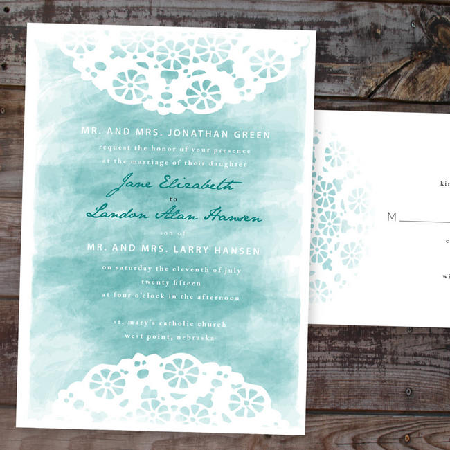 Gorgeous Watercolor Wedding Invitations 9