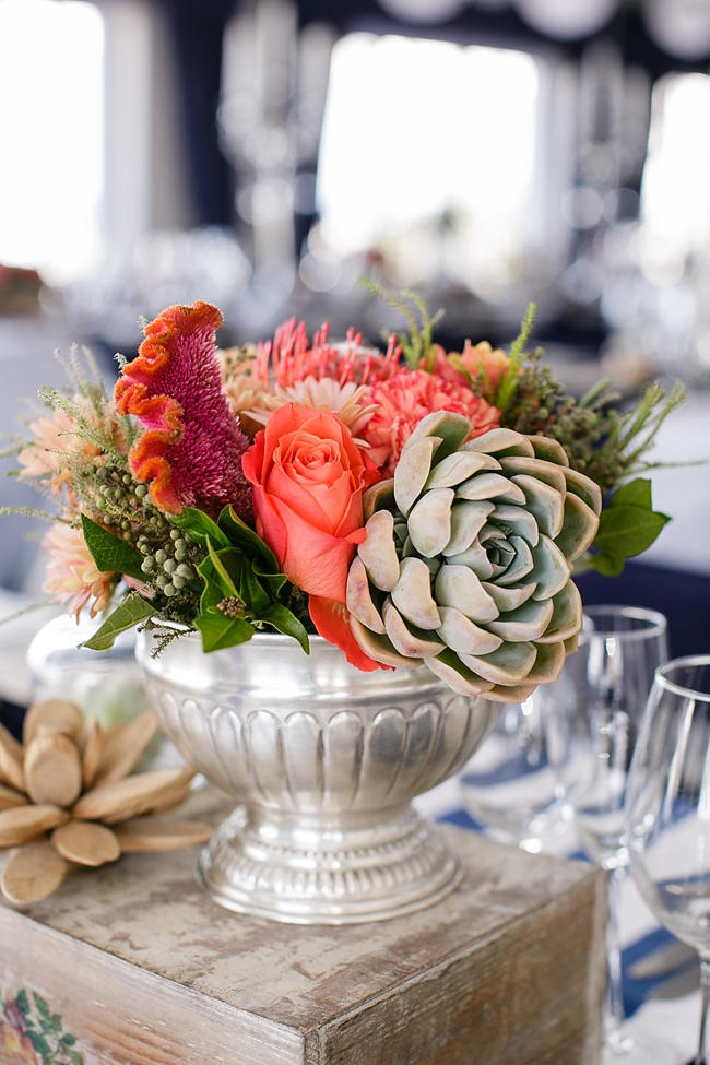 Silver Urn with succulents and coral flowers // Nautical Beach Wedding in Coral and Navy Blue // Jack and Jane Photography
