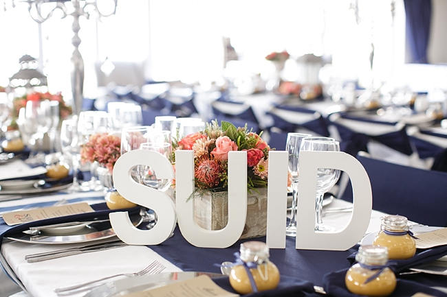 Table Names // Nautical Beach Wedding in Coral and Navy Blue // Jack and Jane Photography