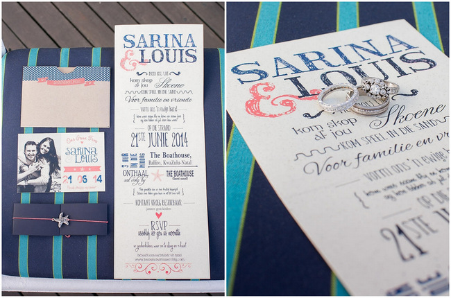 Wedding Invitations // Nautical Beach Wedding Ceremony in Coral and Navy  // Jack and Jane Photography