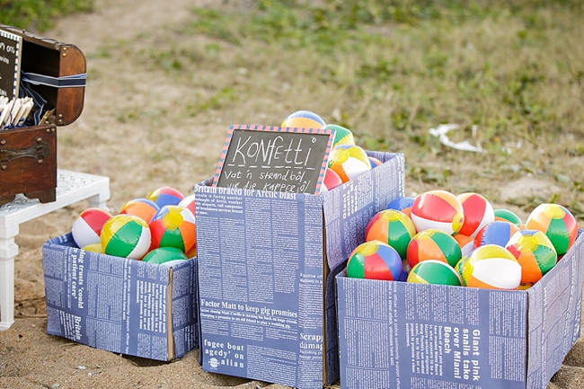 Beach Balls! Nautical Beach Wedding Ceremony in Coral and Navy  // Jack and Jane Photography