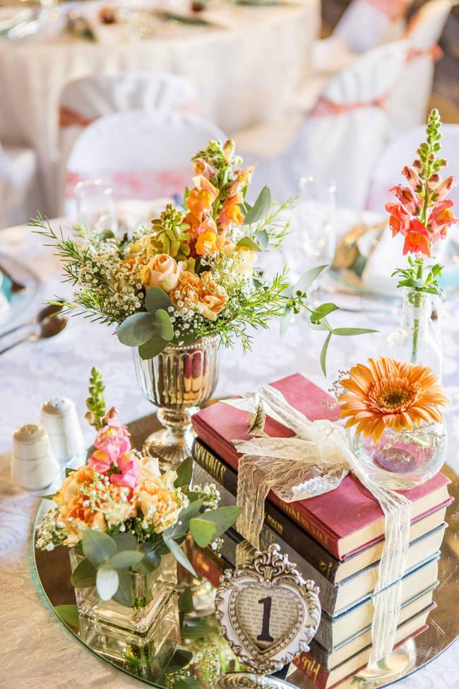 Peach, Green and Yellow Wedding Flower Arrangements // Rustic South African Farm Wedding in Peach // Marli Koen Photography