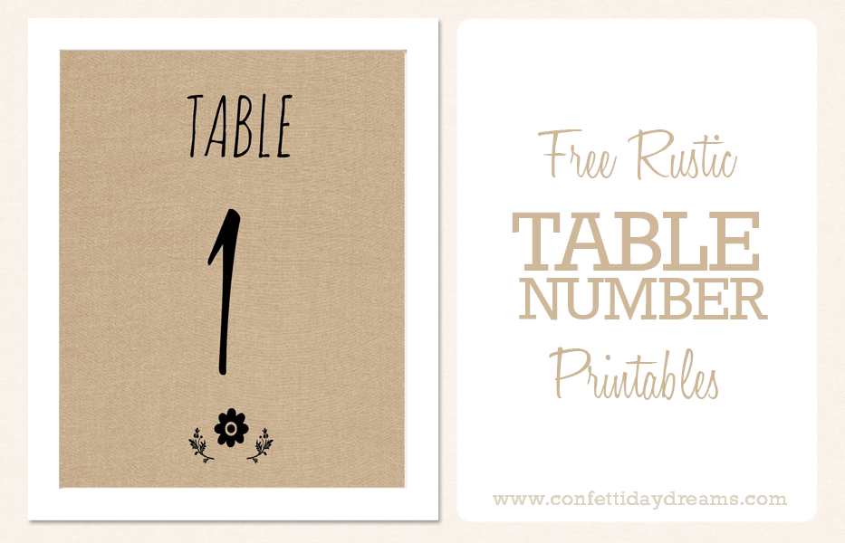Free Printable: Rustic DIY Table Number Download