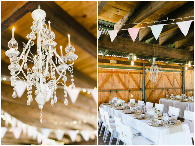 Chandelier // Vintage Chic Barn Wedding Reception // Louise Vorster Photography