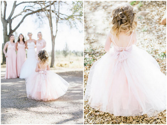 Blush Tulle Flower Girl // Vintage Chic Barn Wedding // Louise Vorster Photography