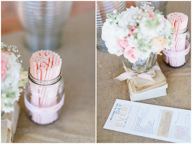 Paper Straws // Vintage Chic Barn Wedding Reception // Louise Vorster Photography