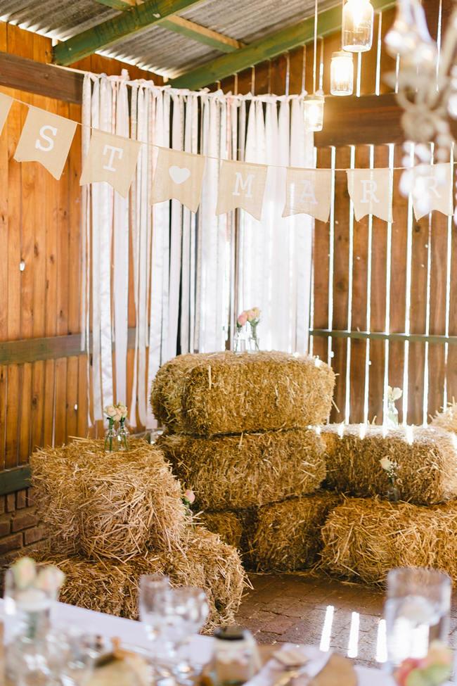 Hay Bales // Vintage Chic Barn Wedding Reception // Louise Vorster Photography