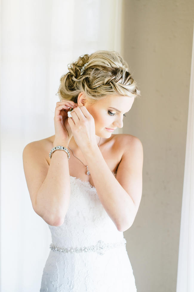 Stunning bridal updo hairstyle // Vintage Chic Barn Wedding // Louise Vorster Photography