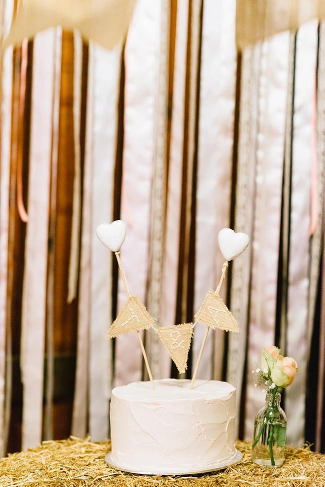 Rustic White Wedding Cake // Vintage Chic Barn Wedding Reception // Louise Vorster Photography