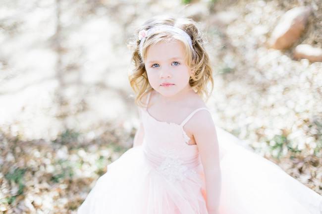 Cutie Pie Blush Tulle Flower Girl // Vintage Chic Barn Wedding // Louise Vorster Photography