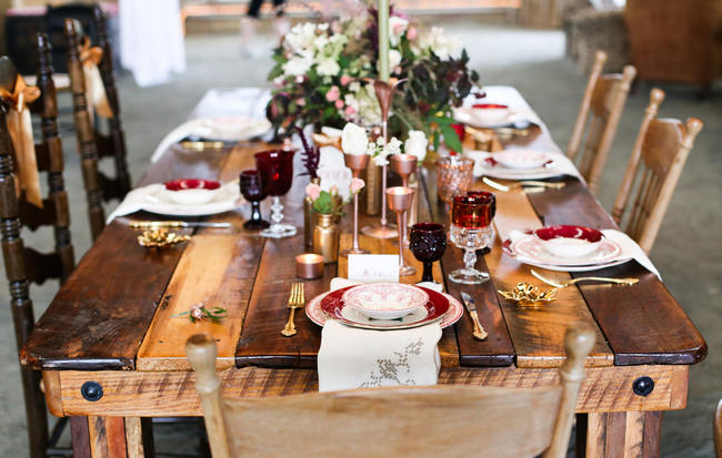 Delicious Gold amp Maroon Autumn Barn Wedding Inspiration