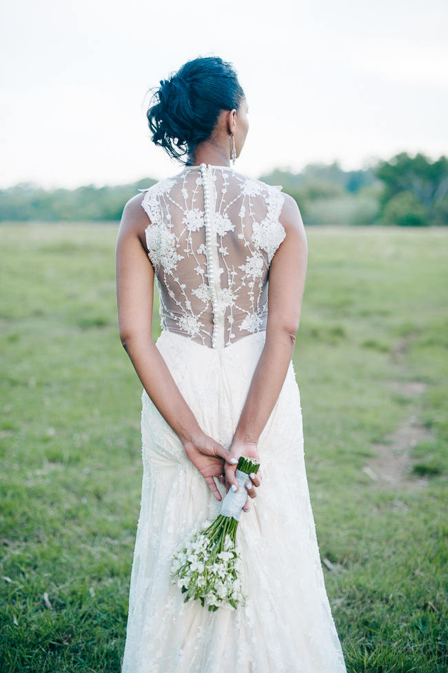 Stunning Lace Back Wedding Dress