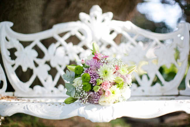 Pink green laveder bouquet // DIY Pastel Wedding Bon Cap Winery // Moira West Photography