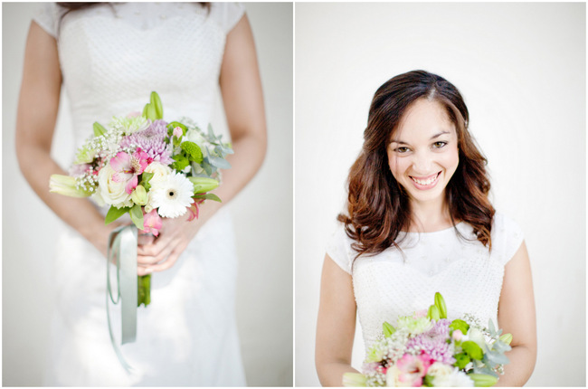 Pink Green Lavender Bouquet // DIY Pastel Wedding Bon Cap Winery // Moira West Photography
