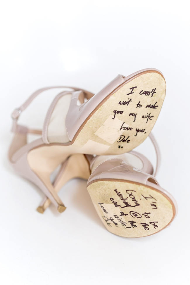 Wedding shoes with undersole message // Franschhoek Wedding // Photography by Claire Nicola