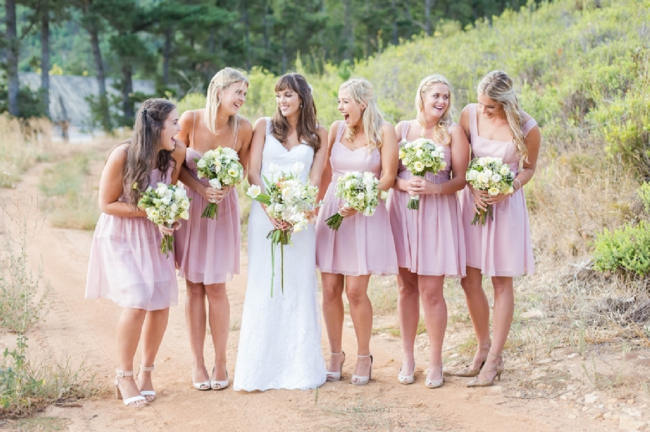 Short pink blush bridesmaid dresses // Franschhoek Wedding // Photography by Claire Nicola
