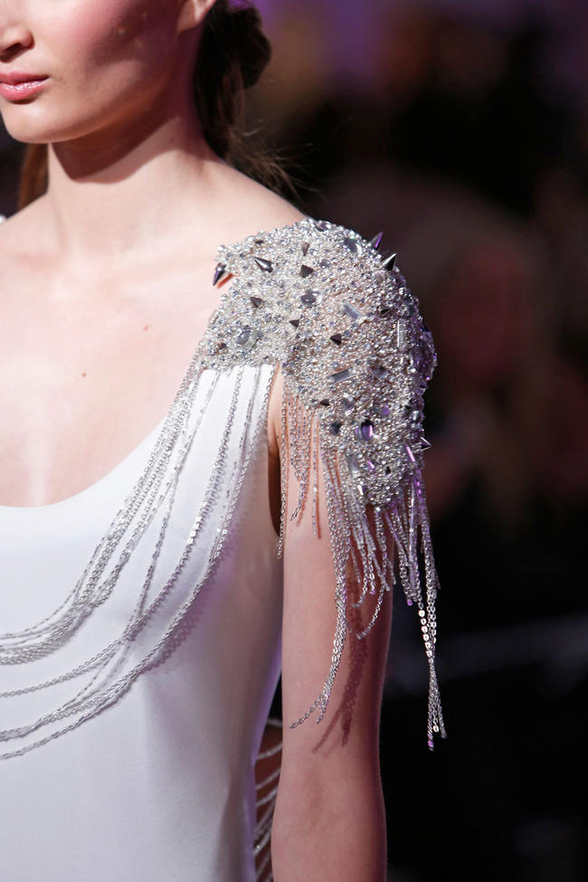 Glam Rock Runway Revival: Studs, Spikes Beaded Body Harnesses from Hayley Paige Spring 2015