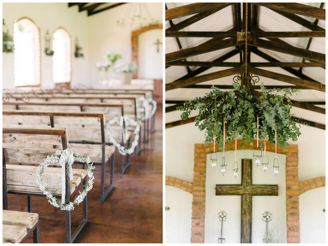 Wedding Ceremony Decor - Babys breath aisle details and natural chandelier // Mint Coral South African Wedding // Louise Vorster Photography