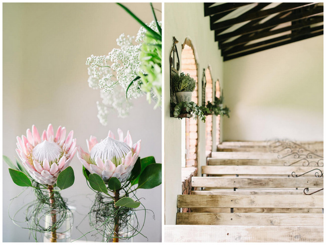 Protea Wedding Ceremony Decor // Mint Coral South African Wedding // Louise Vorster Photography