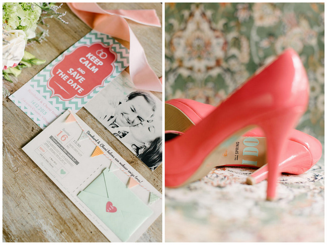 """I Do"" Wedding Shoe Sticker // Mint Coral South African Wedding // Louise Vorster Photography"