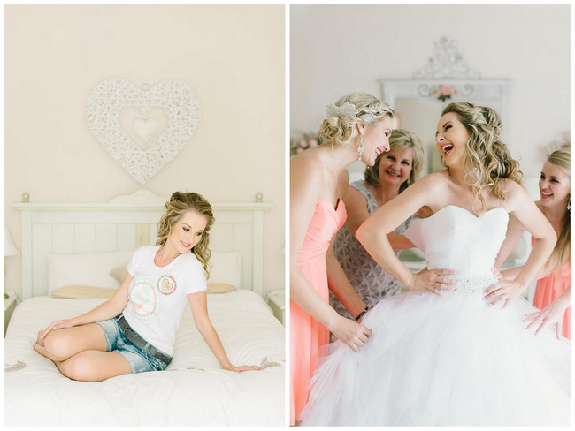 Getting Ready with Bridesmaid Photo Idea // Mint Coral South African Wedding // Louise Vorster Photography