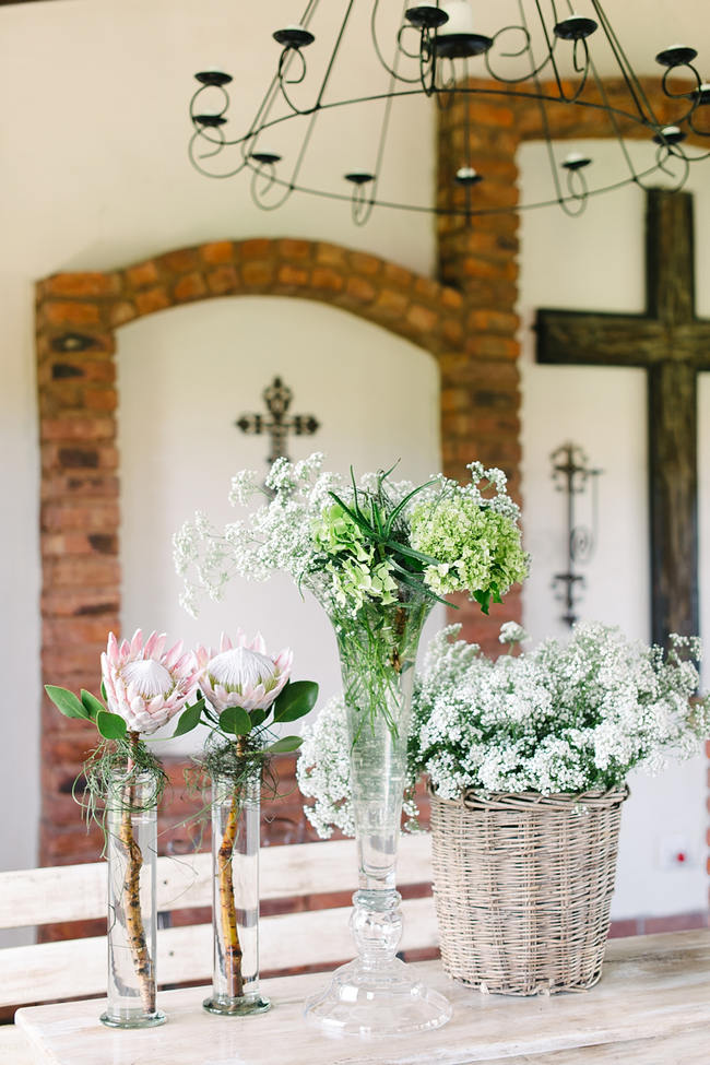 Wedding Ceremony Floral Decor - Proteas // Mint Coral South African Wedding // Louise Vorster Photography