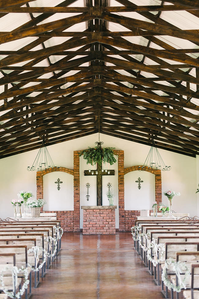 Ceremony Church - Rustic Flower Details // Mint Coral South African Wedding // Louise Vorster Photography