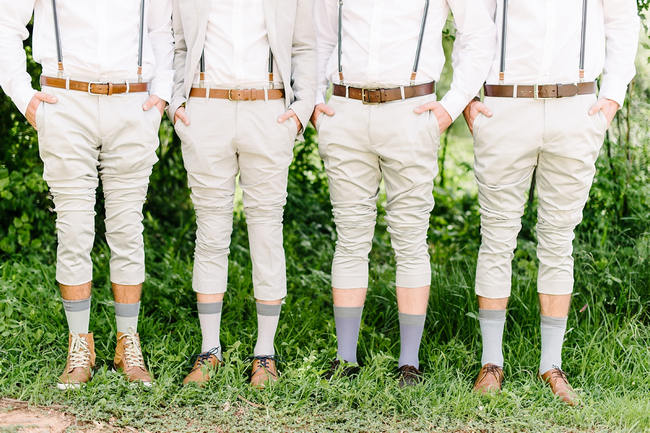 Groomsmen photo idea showing fun socks // Mint Coral South African Wedding // Louise Vorster Photography